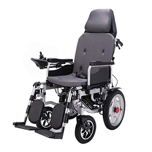 JHKGY Tragbarer Elektrischer Rollstuhl,Hochleistungs-Elektrorollstuhl Mit Kopfstütze,Klappbarer Elektrorollstuhl,Doppelmotoren,360 ° Joystick,Für Ältere Menschen Mit Behinderungen