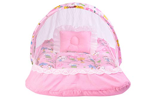Babloo New Born Baby Boy's & Baby Girl's Bedding Set Mattress with Mosquito Net & Neck Pillow for 0-6 Months Babies (Pink)