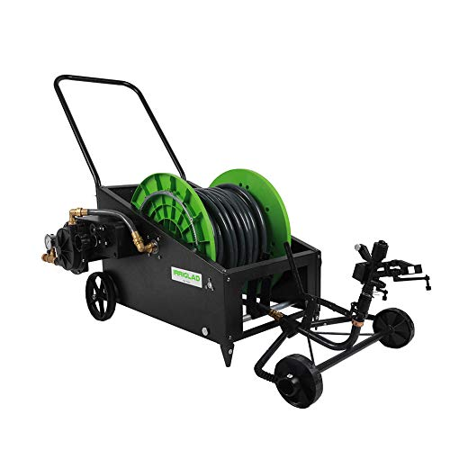 IRRIGLAD Fully Automatic Water Planting Truck Heavy Duty Garden Hose Reel Cart with Lawn Irrigation for Gardens, Farm, Pasture with 131 Feet Hose