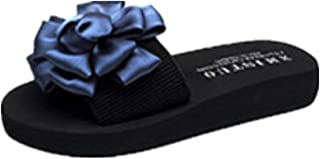 SHANLEE Summer Beach flip-Flops with Non-Slip Flowers and Thick Sandals and Slippers