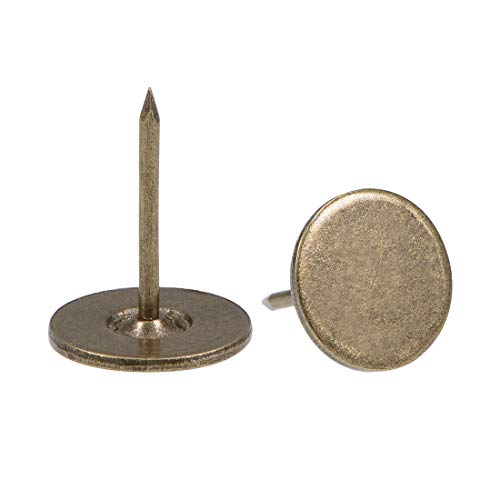 uxcell Upholstery Nails Tacks 16mmx20mm Flat Head Furniture Nails Bronze Tone for Furniture Sofa Headboards, 40 Pcs