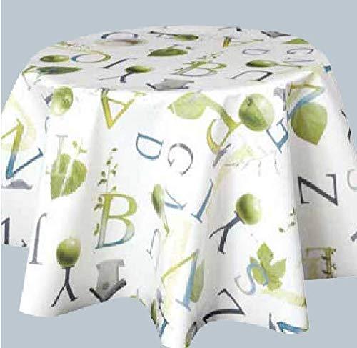 ELIKO - Mantel impermeable de tela encerada redonda, 160 cm, PVC, color verde