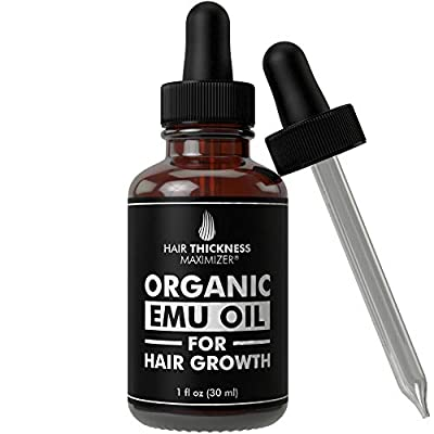 EMU Oil For Hair Growth by Hair Thickness Maximizer. Best Organic, Natural Oils Treatment with Omega 3,6,9. Stop Hair Loss Now. Hair Thickening Serum to Replenish Hair Follicles for Men and Women