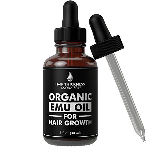 EMU Oil For Hair Growth by Hair Thickness Maximizer. Best Organic, Natural Oils Treatment with Omega 3,6,9. Stop Hair Loss Now. Hair Thickening Serum to Replenish Hair Follicles for Men and Women 1oz