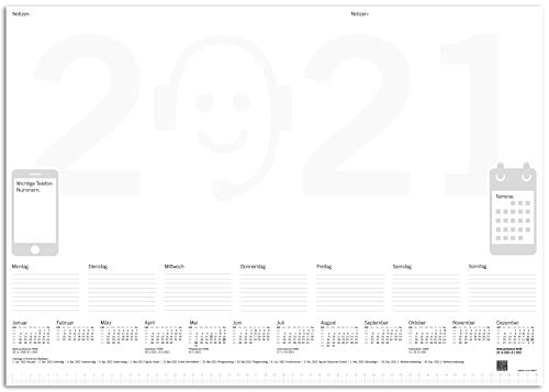 BATI ORIGIN Protector de escritorio de papel, DIN A2, con calendario 2021, 50 hojas, diseño 2021, climáticamente neutro.