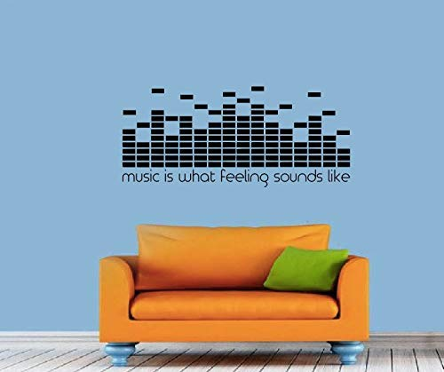 wandaufkleber katze Music is What Feeling Sounds Like Wall Decal Quote Dj Decal Equalizer Music MacBook Studio Decor Vinyl Graphic