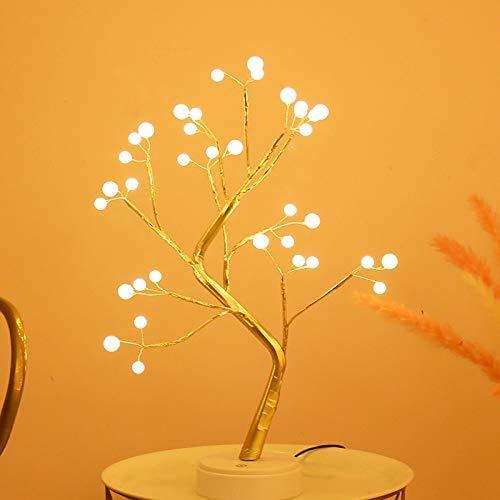 YAHAN Lámpara LED de árbol de simulación con perla estrellada de alambre de cobre lámpara de escritorio populares lámparas de decoración romántica arreglo de luz nocturna linterna (bola)