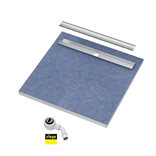 Duschelement 80x80x5/10,5cm Duschboard Extra Flach Beflisbar Duschrinne 8cm Abdeckung PLATE Ablauf Viega BASE S1