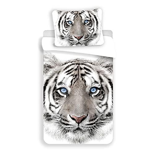 Tigre Blanc – Juego de cama – Funda nórdica de algodón