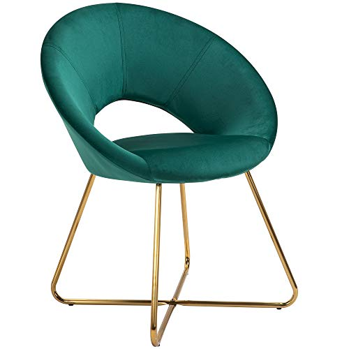 HOMCOM Modern Accent Chairs Velvet Upholstered Armchair with Gold Legs for Living room Bedroom Dinning Room Green