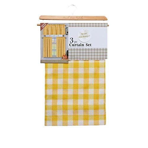 Duck River Textile Buffalo Plaid Gingham Checkered Premium Cotton Blend Kitchen Curtain Tier & Valance Set, 2 Tiers 29 x 36 & One Valance 58 x 15, Yellow