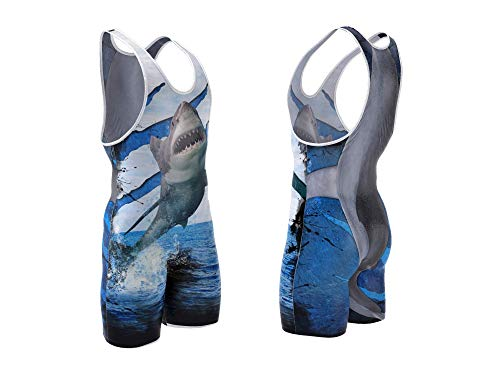 Shark wrestling singlet size L