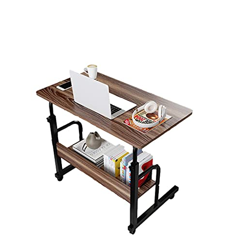 Mesa auxiliar móvil de 80 x 40 cm, ruedas para tableta móvil, portátil, escritorio, ajustable, de roble móvil, bandeja de comida
