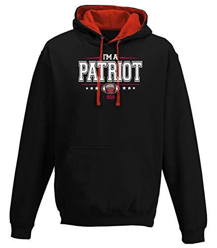 I'm a Patriot Any Given Sunday Pats Football Super Bowl Premium Varsity Hoodie Pulli Kontrasthoodie Kapuzenpullover, Größe:S, Farbe:Schwarz Rot JH003