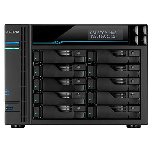 Asustor Lockerstor 10 | AS6510T | Enterprise Network Attached Storage | 2.1GHz Quad-Core, Two 10GbE Port, Two 2.5GbE Port, Two M.2 Slot for NVMe SSD...