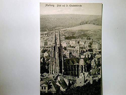 Marburg. Blick auf die St. Elisabethkirche. Alte AK s/w. Teiansicht des Ortes, Kirchenansicht, Vogelperspektive, Karte Nr: 425