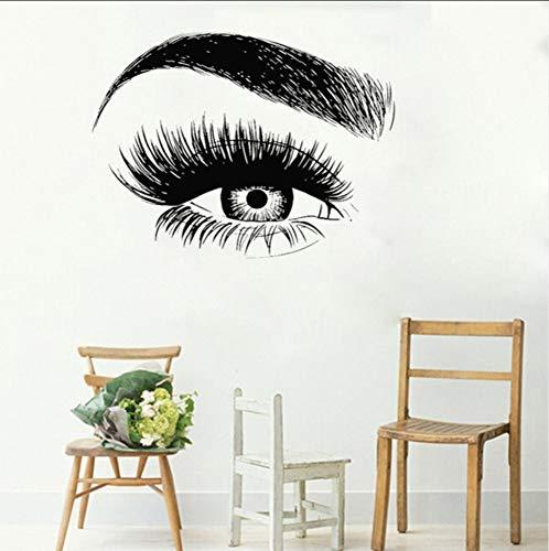 Ponana Cils Pour Les Yeux Autocollant Sticker Cils Sourcils Sourcils Citation Salon De Beauté Maquillage Vinyl Girl Room Stickers Muraux 56X74Cm A