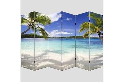 Paravent Strand 180x240 cm Trennwand Raumteiler Paravant Sichtschutz Sonne Meer