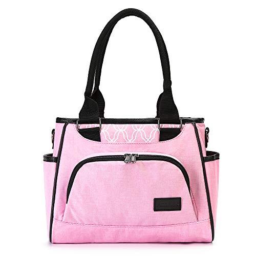AmHoo Reusable Lunch Bag For Women Waterproof Cooler Insulated Box Picnic Women Top Handle Satchel Handbags Stylish Adult 10L tote Work School YKK Zipper Pink