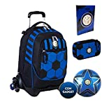 Mochila escolar del F.C. Inter de 3 ruedas con mochila desmontable de la colección Seevn + estuche con cremallera Quick Case + Diario 2021/2022 + balón y llavero de fútbol