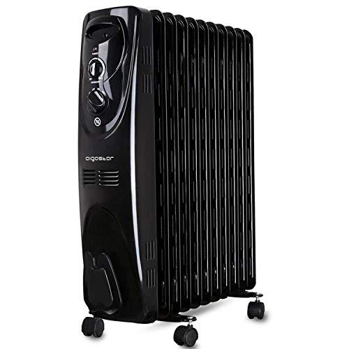 Aigostar Tummie 33JIE – Radiateur à bain d'huile portable. 11 éléments, 2300 W. 3 niveaux de puissance et thermostat réglable. Couleur noir. Design exclusif.