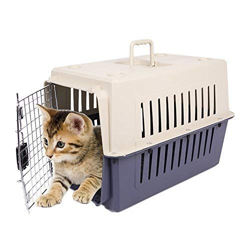 Price comparison product image Livebest Portable Plastic Hard-Sided Pet Carrier Crate Outdoor Kennel Car Travel Box for Small Animals (M,  darkblue)