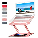 Laptop Notebook Stand Holder, Ergonomic Adjustable Ultrabook Stand Riser Portable with Mouse Pad Compatible with MacBook Air Pro, Dell, HP, Lenovo Light Weight Aluminum Up to 15.6'(Rose Gold)