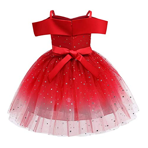 2-10 Years Toddler Kids Girls Princess Pageant Ball Gown Christmas Dress Party Paillette Wedding Princess Dress (Red, 4-5 T)