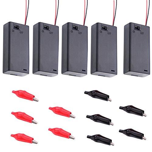 Yue Qin 5pcs Caja del Soporte de batería AA 3V Caja de Almacenamiento de Batería de Plástico con Interruptor de Encendido/Apagado y 10pcs Pinzas de Cocodrilo
