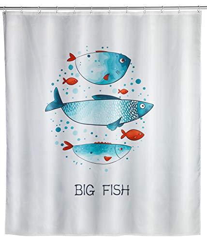 WENKO Duschvorhang Big Fish, Textil-Vorhang fürs Badezimmer, mit Ringen zur Befestigung an der Duschstange, waschbar, wasserabweisend, 180 x 200 cm