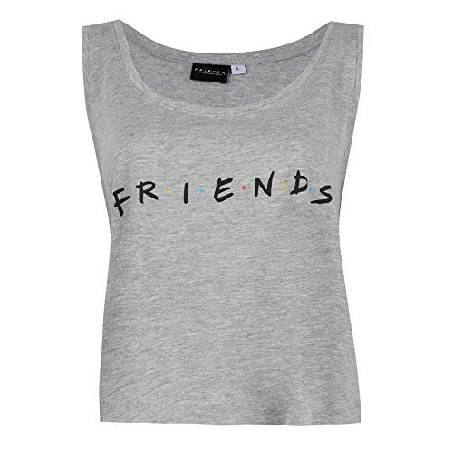 Friends Titles Vest Top Camiseta de Tirantes, Gris (Grey Heather Hgy), XL para Mujer