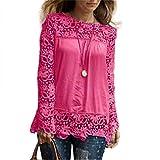 MORCHAN Chemise à Manches Longues pour Femmes Fashion Casual Blouse en Dentelle Tops en Coton lâche T-Shirt(FR-36/CN-M,Rose Vif)
