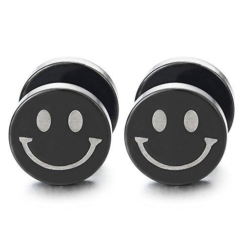 10MM Negro Círculo Cara Sonriente Pendientes de Hombres Mujer, Acero Enchufe Falso Fake Cheater Plugs Gauges, 2 Piezas