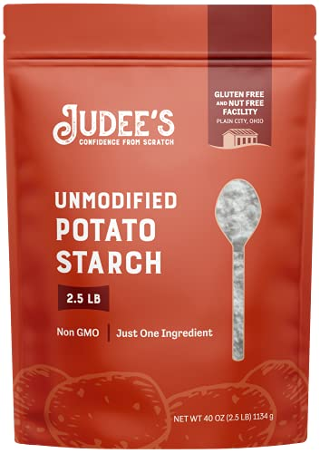 Judee's Unmodified Potato Starch- 2.5lb Resealable Pouch   100% Non-GMO, Gluten-Free & Nut-Free   Pure and Resistant