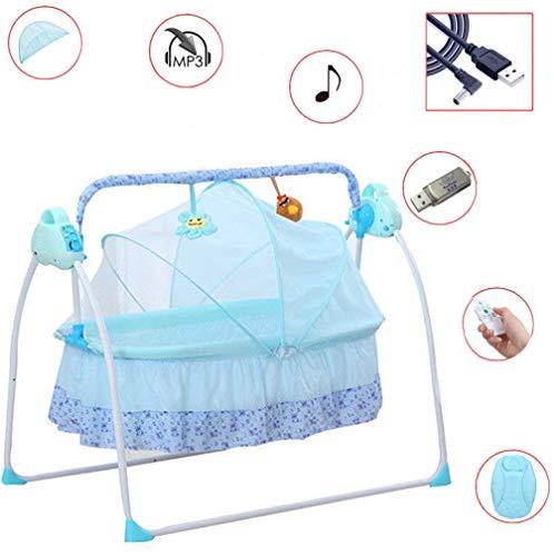 Elektrische Baby Wiege Automatische Babyschaukel Babyschale Platz Safe Babywippe Vibration Melodie Fernsteuerung, Musik + Matte + Moskitonetze (Blau)