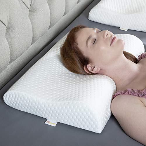 KIZZEN Memory Foam Pillow. Cervical Pillow For Neck Pain. Anti Snoring Medium Firm Orthopedic Pillow With Washable Cover. 54x37 cm 8-10 cm height.