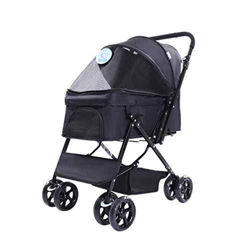 Honden kinderwagen, buggy wagen huisdier buggy drager outdoor reizen plooien kat 4 wielen puppy jogger voor kleine hulp invaliden hond blauw