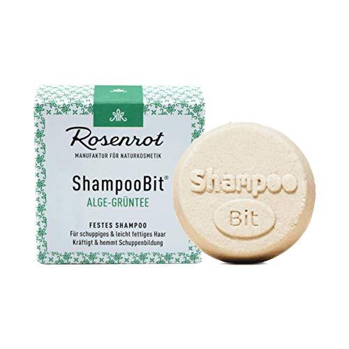 Rosenrot Naturkosmetik - ShampooBit® - festes Shampoo Alge-Grüntee - 55g - Für schuppiges & leicht fettiges Haar - Kräftig & hemmt Schuppenbildung