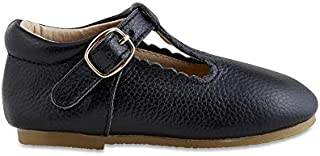 Toddler Mary Janes | Hard Sole T-Bars | Genuine Leather Moccasins with T-Strap for Toddlers