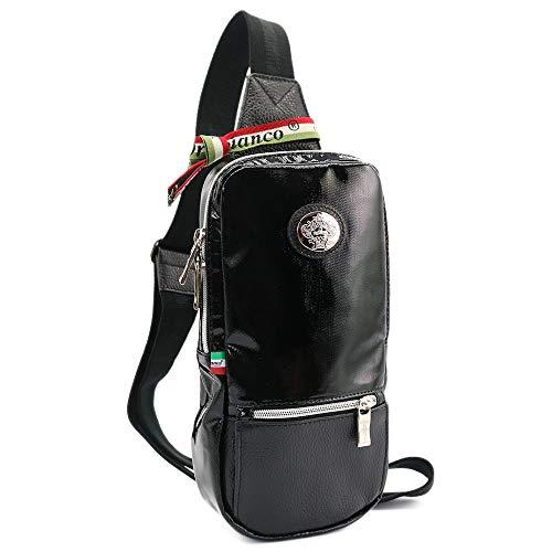 [OROBIANCO] [特価] ボディバッグ [イタリア製] ATTORE-C NYLON DOLLARO-SOFT [オロビアンコ] ショルダーバッグ メンズ 斜めがけ ナイロン レザー ブランド 本革 [並行輸入品] (NERO/ブラック)