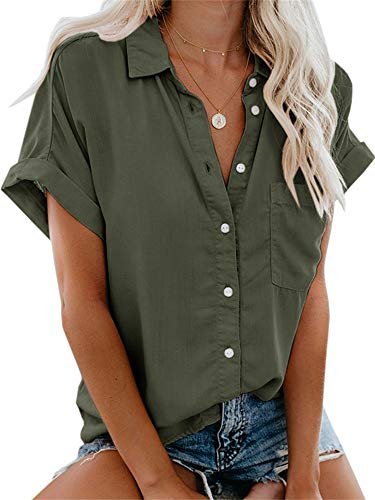 Beautife Womens Short Sleeve Shirts V Neck Collared Button Down Shirt Tops with Pockets Army Green