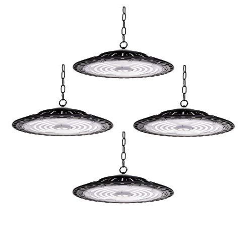 4er 300W LED Strahler Industrielampe, UFO LED Werkstattlampe 30000LM Hallenstrahler, IP65 Wasserdichte 120°Abstrahlwinkel Hallenbeleuchtung 6500K, Lampen LED High Bay Licht für Industrie Deckenleuchte