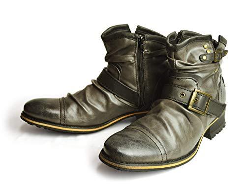 『[ジーノ] ドレープ エンジニアブーツ ショートブーツ ワークブーツ ブーツ サイドジップ メンズ 靴』の1枚目の画像
