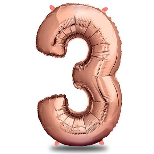 envami Folienballon Zahl I Geburtstagsdeko Rosegold I 100cm I Deko zum Geburtstag I Luftballon Zahlen Dekoration I Happy Birthday I Fliegt mit Helium (Zahl 3)