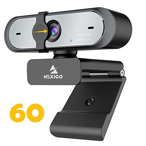 NexiGo Cámara web 2020 1080P 60FPS con micrófono doble y cubierta de privacidad, enfoque automático, micrófonos integrados de reducción de ruido para videollamadas, computadora portátil Webcam para equipos Zoom YouTube Skype FaceTime