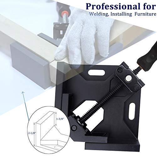 LEATBUY 90 Degree Corner Holder Welding Clamp 2pcs Right Angle Clamps, Vise Adjustable Swing Bench Tool, Perfect for Carpenter Wood-Working Engineering with a Tape Measure (Black)
