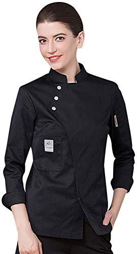 Unisex Herren und Damen Herbst Winter-Langarm Kochjacke Westliches Essen Restaurant Küche Hotels Uniform Berufsbekleidung,Schwarz,M