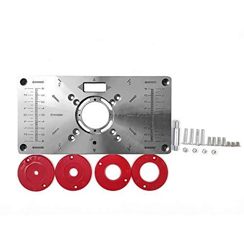 Placa de Tabla inserción mesa router,Roeam Tabla de enrutador Bancos de carpintería de aluminio,Modelos de fresas de madera Máquina de grabado con 4 anillos
