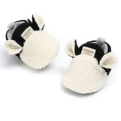 RVROVIC Botines de forro polar acogedores con parte inferior antideslizante y cálidos calcetines de invierno, A blanco., 12-18 meses