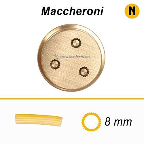 Bronze-Teigmaschine für Makeroni Rigatoni 8 mm für professionelle Frischpastenmaschine La Bauernhof 1,5 kg kompatibel mit FIMAR MPF 1,5